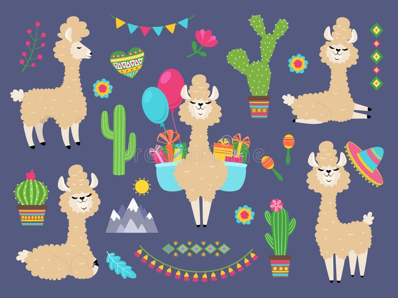 Cute alpaca. Funny cartoon llama, peru baby lamas and cacti flowers. Wild alpacas animals characters. Cute alpaca. Funny cartoon llama, peru baby lamas and cacti stock illustration