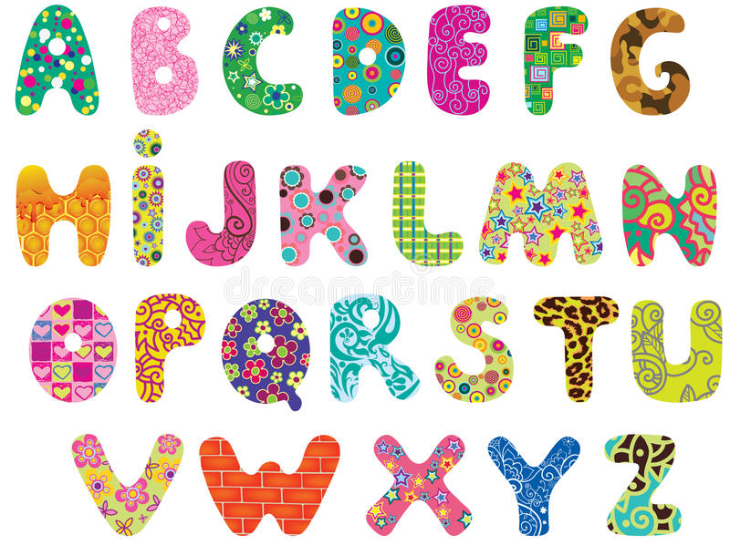 Cute alphabet. Cute colored textured alphabet. Letters made with original patterns and masks