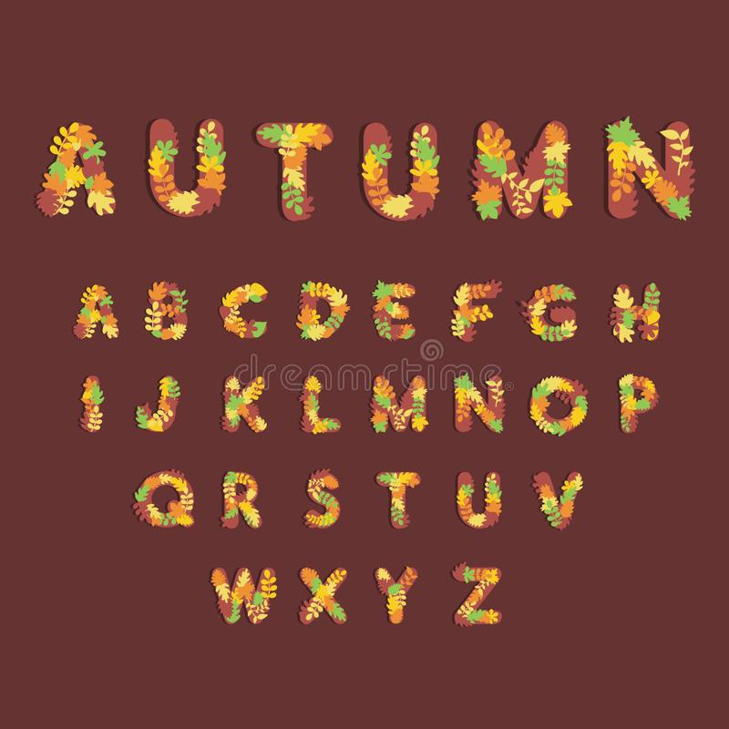 Cute Alphabet for Autumn Seasons on Banner, Website or Poster Template. Content, social, media, sale, adorable, art, baby, background, beautiful, brown royalty free illustration
