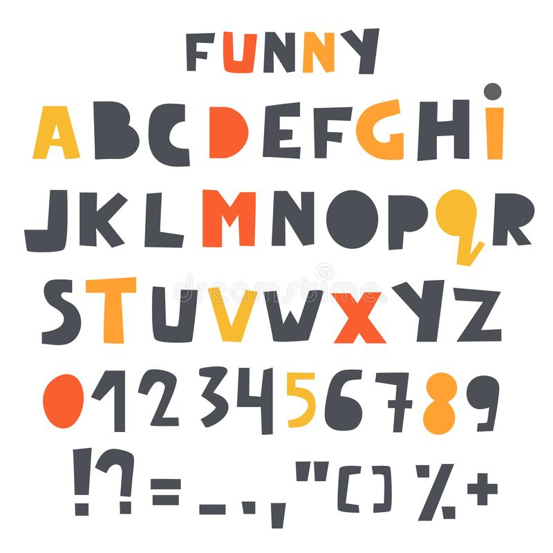 Cute alphabet, letters set for kids. Baby shower, nursery, children font with numbers and typographic signs stock illustration