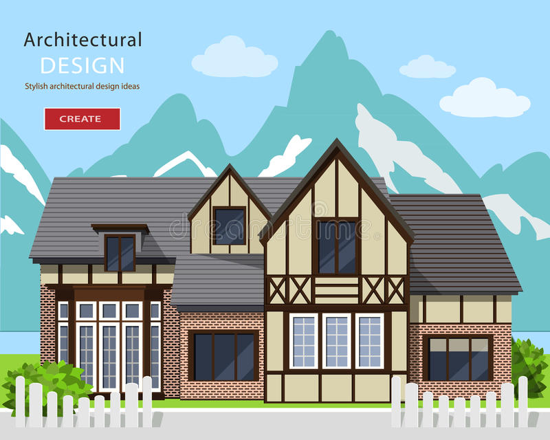 Cute alpine chalet facade. Graphic private house with Mountains background. stock illustration