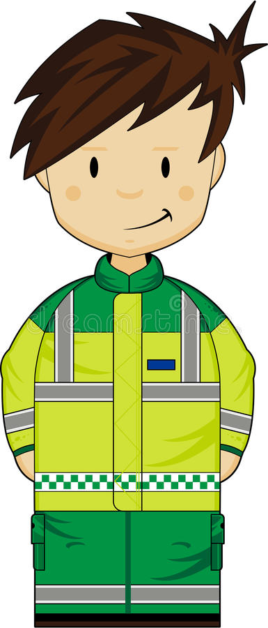 Cute Ambulance Man. Vector Illustration of an adorably cute cartoon EMT Ambulance Man. An EPS file is also available vector illustration