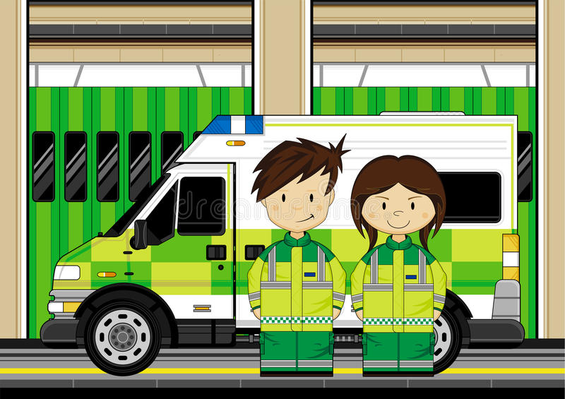 Cute Ambulance Man. Vector Illustration of adorably cute cartoon EMT Medics with Ambulance stock illustration