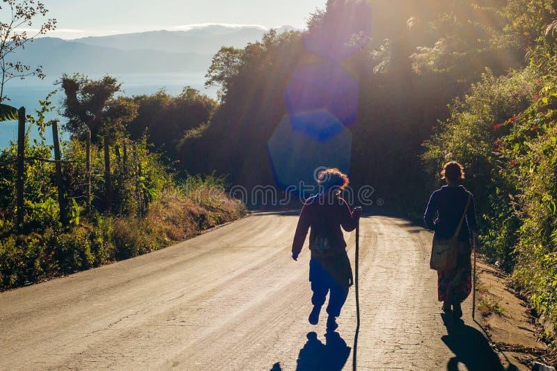Cute American woman hitchhiking in latin america. Cute latin American woman hitchhiking royalty free stock image