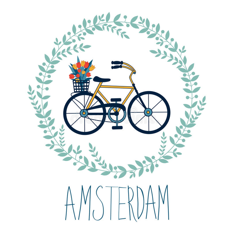 Cute Amsterdam card with tulips in bycicle basket. In floral wreath. Vector illustration royalty free illustration