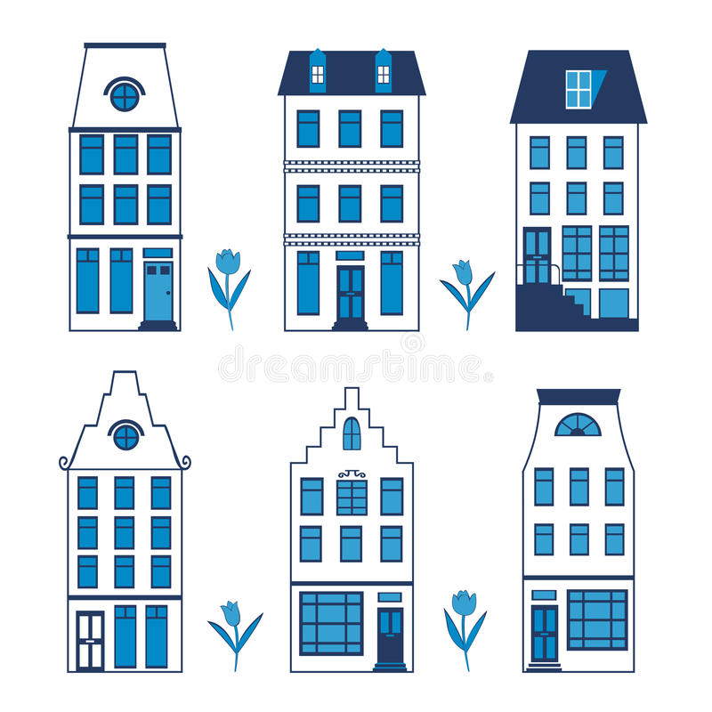 Cute Amsterdam houses colorful set. Vector illustration royalty free illustration
