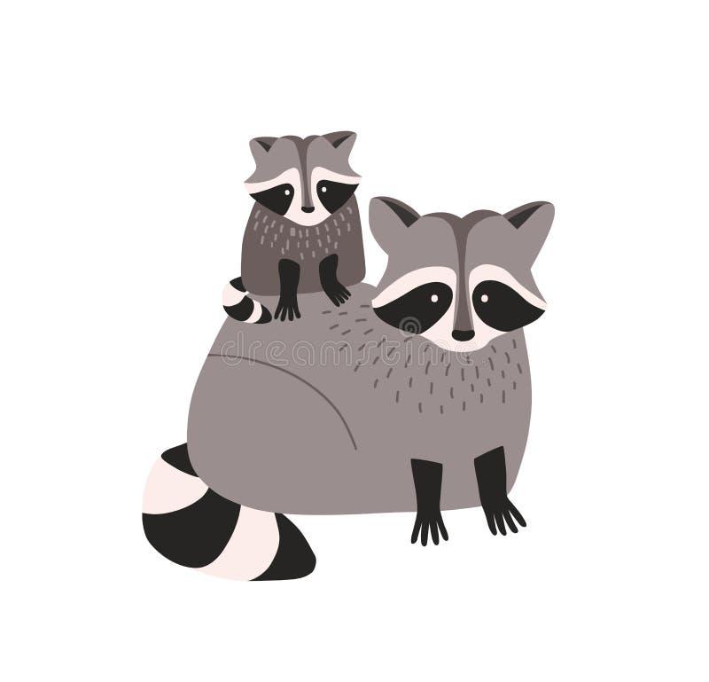Cute amusing raccoon met cub geïsoleerd op witte achtergrond. Familie van grappige, dierbare wilde vleesetende bosdieren stock illustratie