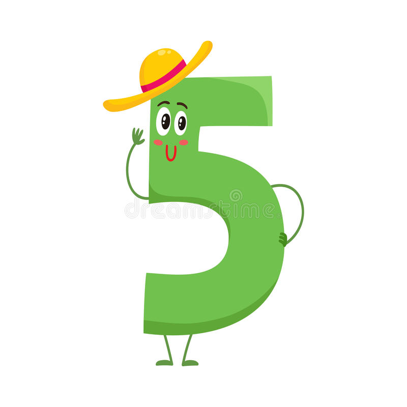 Free Cute And Funny Colorful 5 Number Characters, Birthday Greetings Stock Photo - 82118940