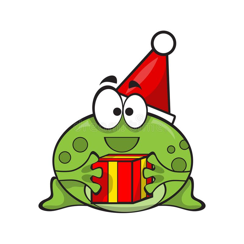 Free Cute And Funny Frog Wearing Santa Hat With Gift For Christmas Stock Photo - 204567460