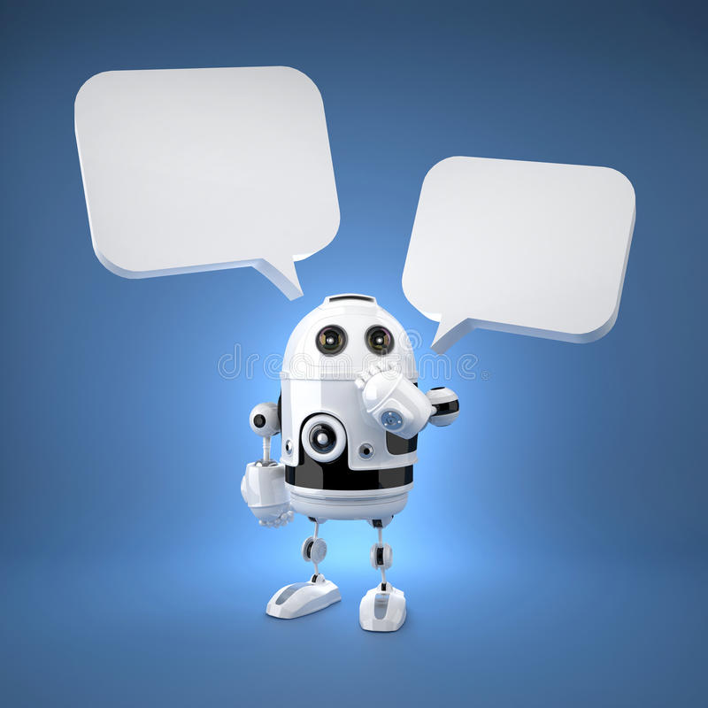 Cute Android Robot with speech bubbles vector illustration