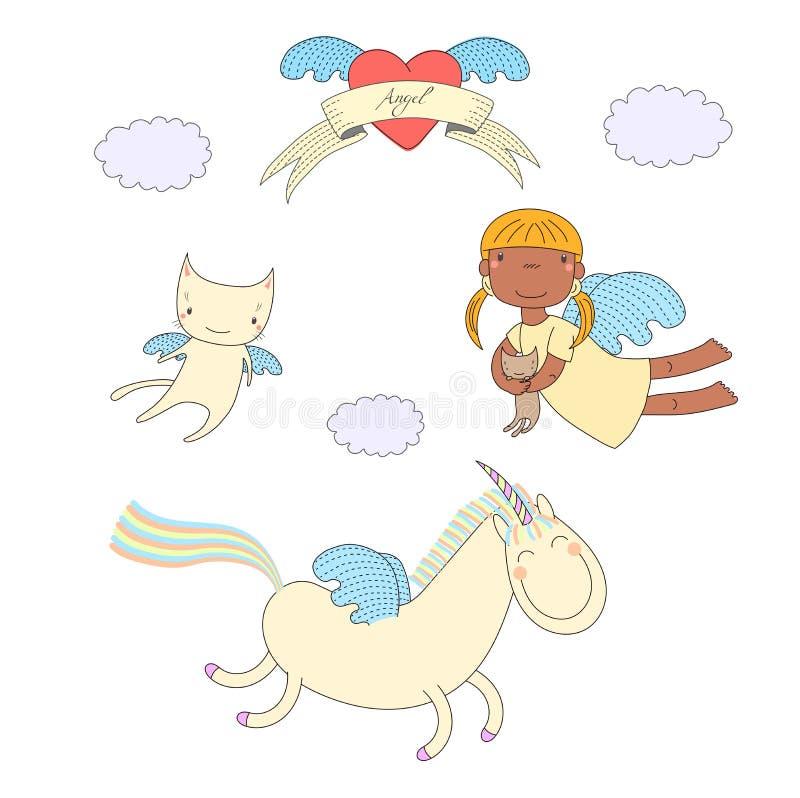Cute angel, cat and unicorn illustration royalty free illustration