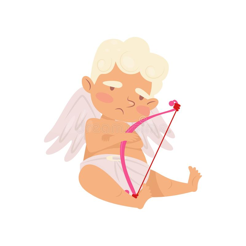 Cute angel of love sitting with sad face expression. Cartoon cupid with little wings. Baby boy with pink bow. Flat stock illustration