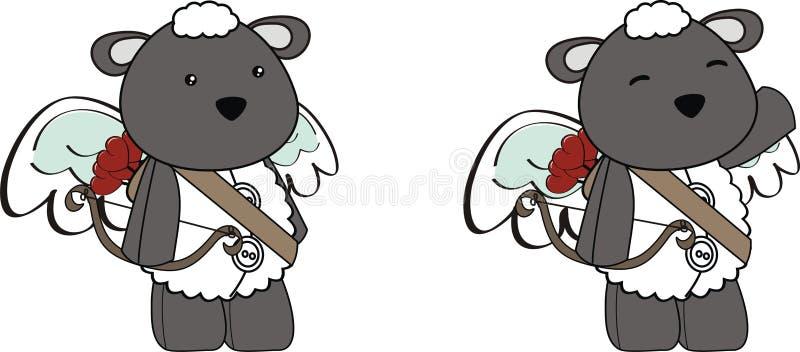 Cute angel sheep cupid cartoon set royalty free illustration