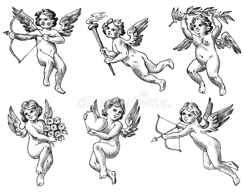 Cute angels with arrows and bow. Small aesthetic Cupids with wings fly with hearts and flowers in the sky. Set of royalty free illustration