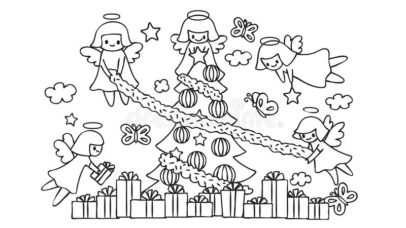 Cute angels flying help each other decorate the Christmas tree, for design element and coloring book page for kids. Vector illustr vector illustration
