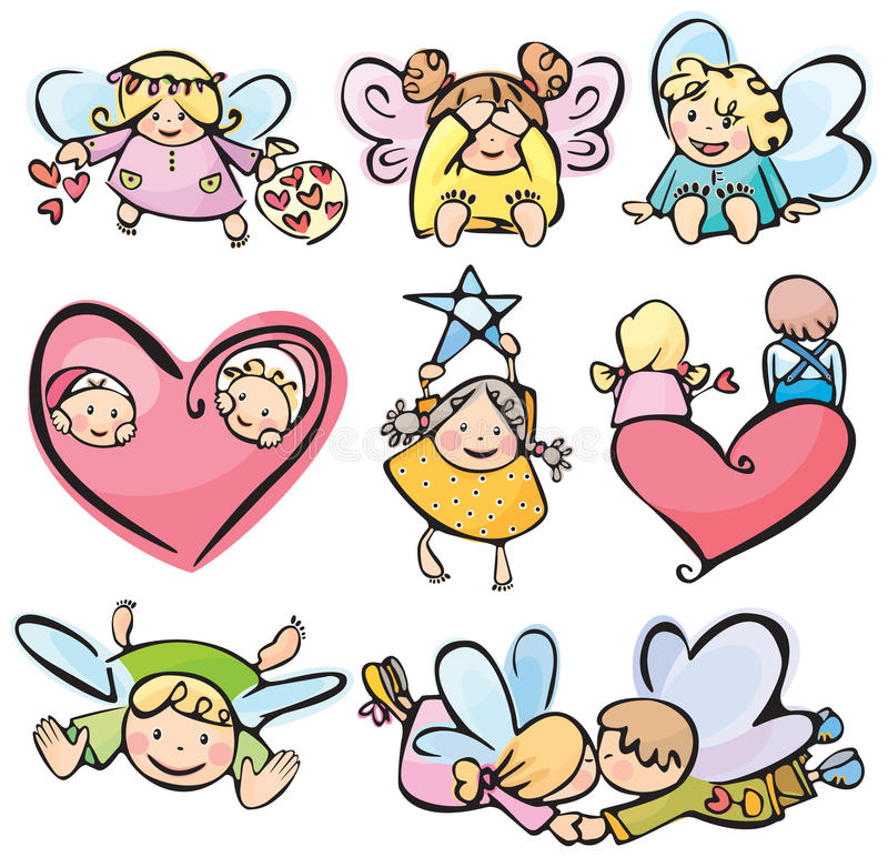Free Cute Angels For Your Design. Royalty Free Stock Image - 24029996
