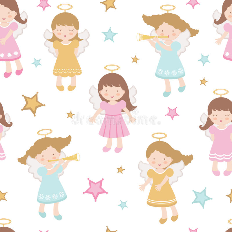 Cute angels seamless pattern royalty free illustration
