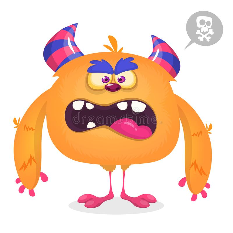 Cute angry cartoon monster. Vector furry orange monster character with tiny legs and big horns stock illustration