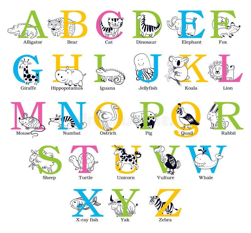 Cute animal alphabet stock illustration