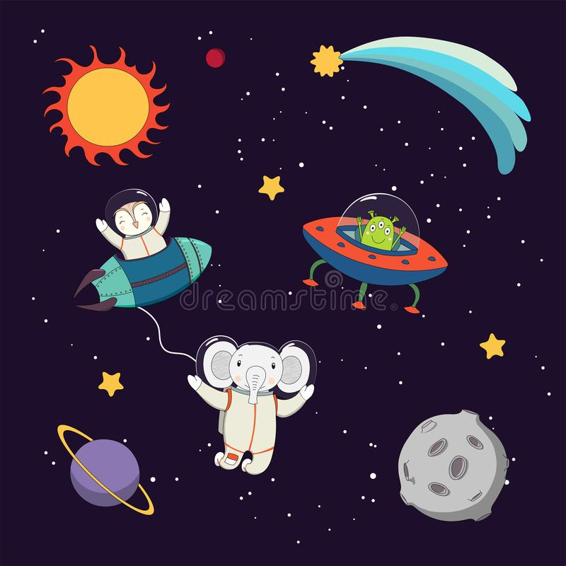 Cute animal astronauts in space vector illustration
