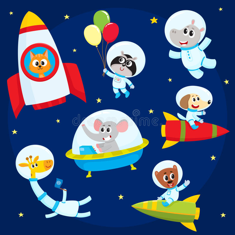 Cute animal astronauts, spacemen flying in rockets, space suits, ufo. Cute little animal astronauts, spacemen flying in rocket, space suits, ufo, cartoon vector royalty free illustration