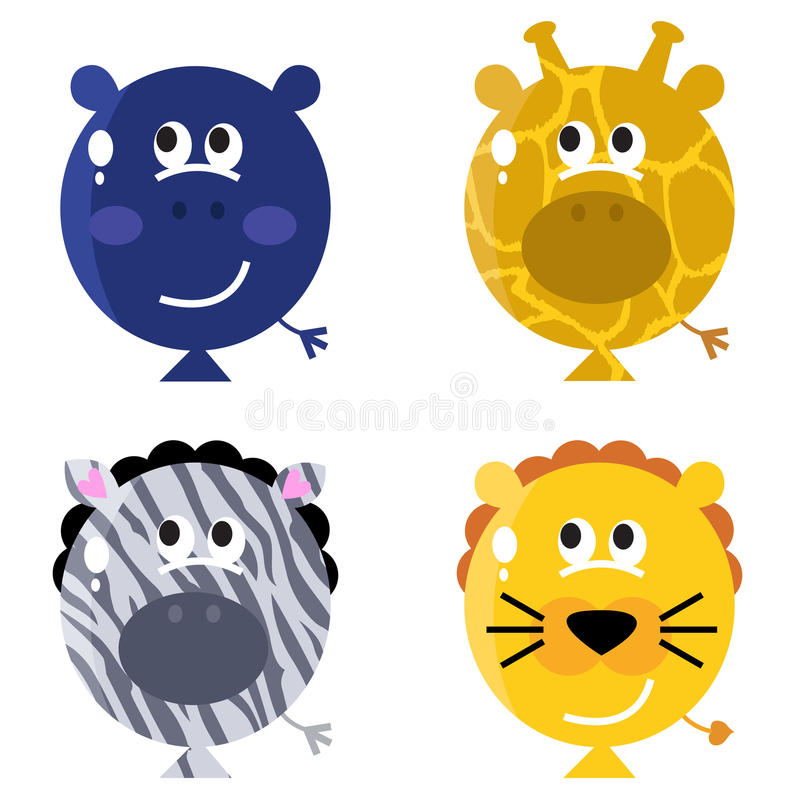 Download Cute Animal Balloon Faces Set Stock Vector - Illustration: 22478444