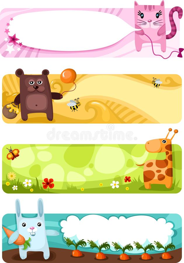 Download Cute animal card set stock vector. Illustration of banner - 16286010