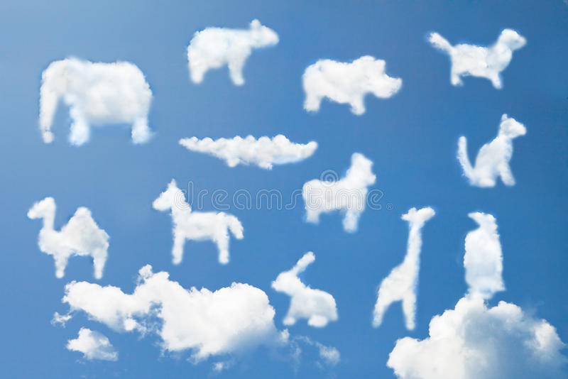 Cute animal cartoon pattern clouds shape stock images