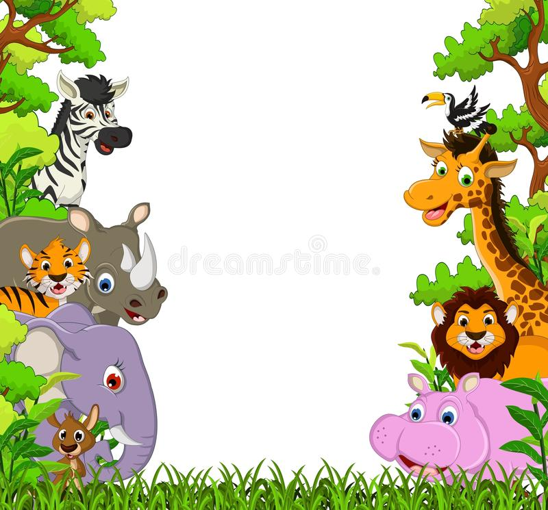 Free Cute Animal Cartoon With Tropical Forest Background Royalty Free Stock Photography - 34190787