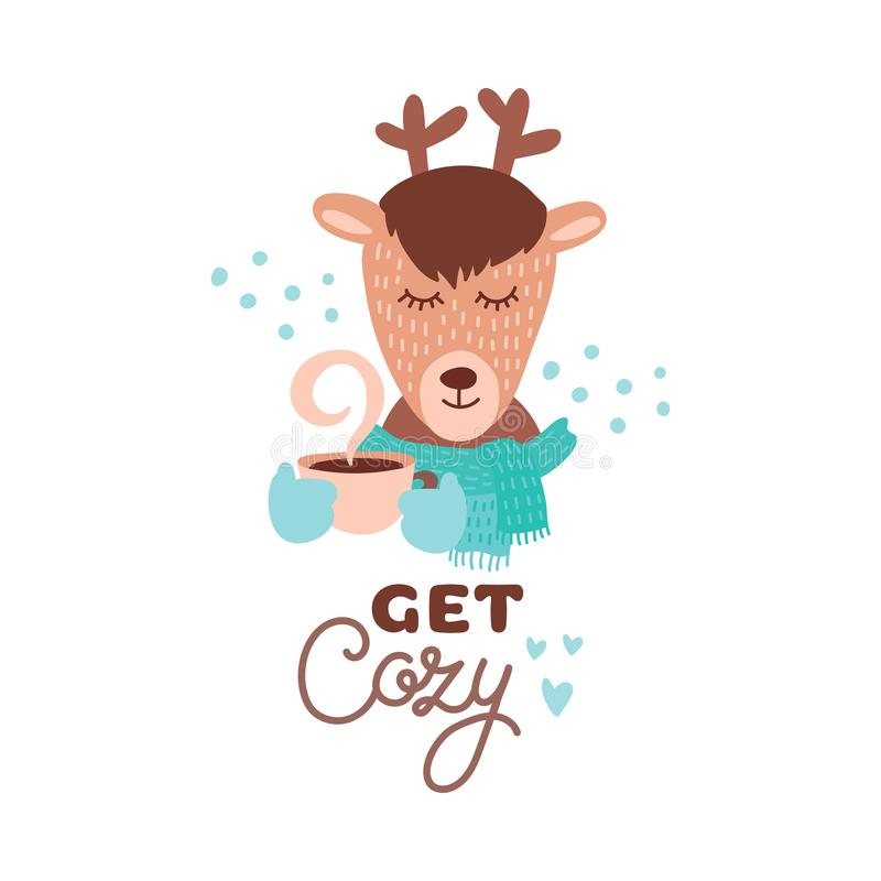 Cute animal with coffee mug vector colorful illustration. Lovely deer in scarf with coffee hot drink cup. Sweet cartoon character with hand drawn lettering for stock illustration