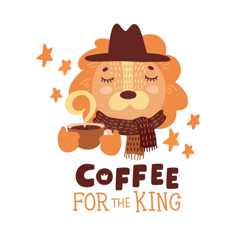 Cute animal with coffee mug vector colorful illustration. Lovely lion in hat and scarf with hot drink cup. Sweet cartoon character with hand drawn lettering vector illustration