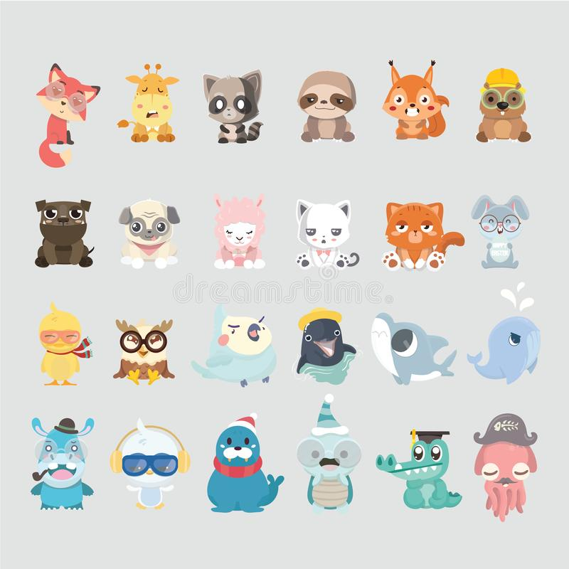 Cute animal collection stock illustration