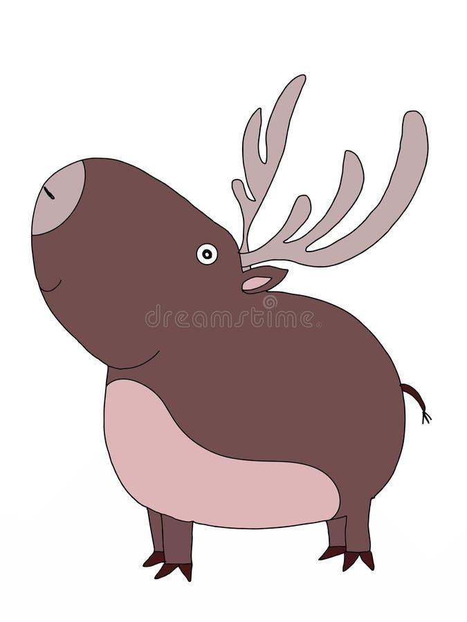 Cute animal deer cartoon illustration coloring drawing line royalty free illustration