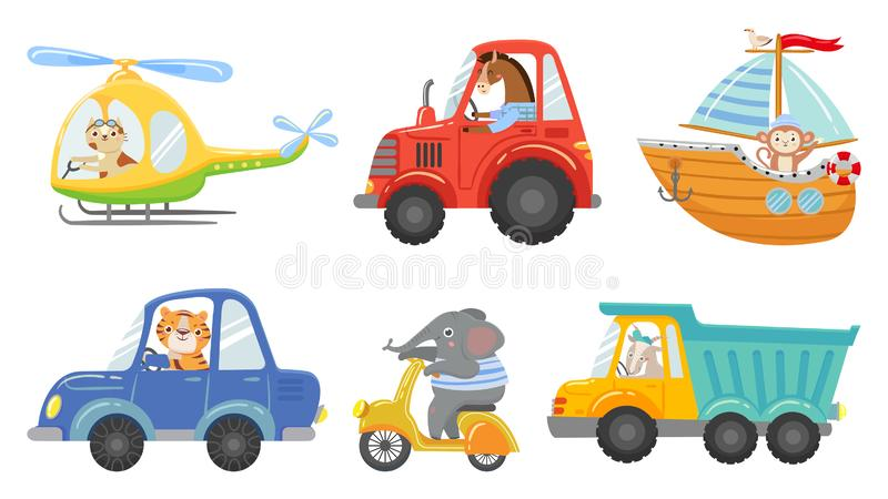 Cute animal drivers. Animal driving car, tractor and truck. Toy helicopter, sailboat and urban scooter cartoon vector royalty free illustration