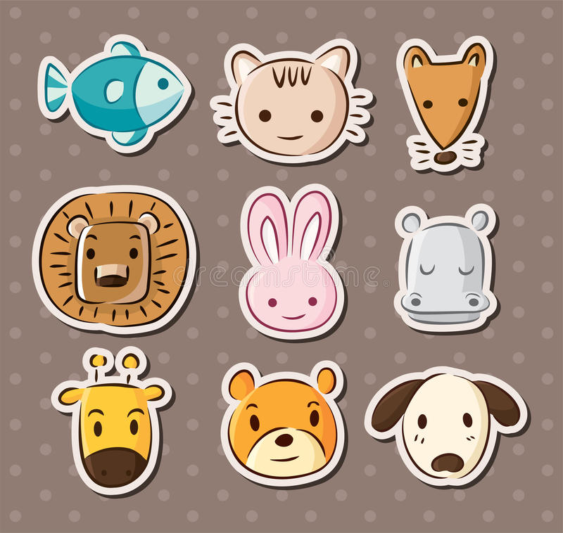 Download Cute animal face stickers stock vector. Illustration of element - 27359632