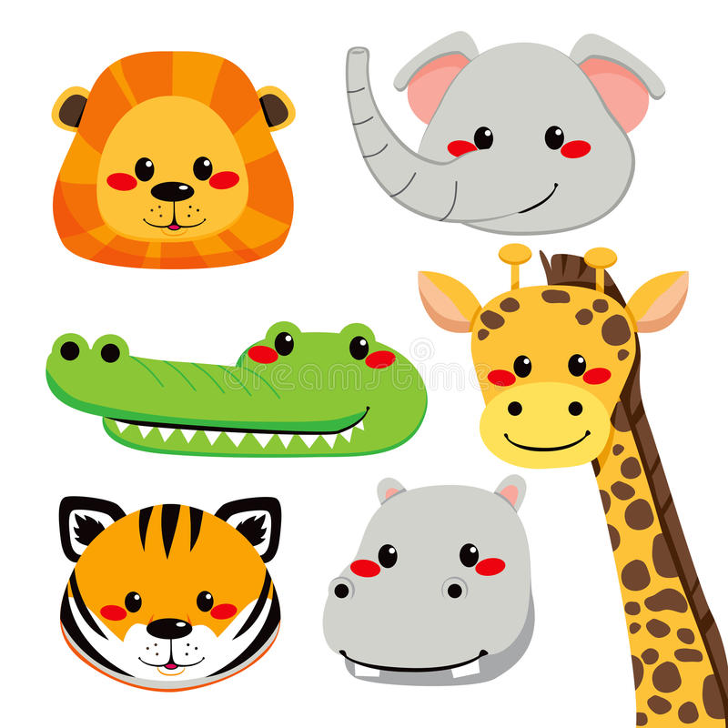 Download Cute Animal Faces stock vector. Image of sweet, lion - 24361729