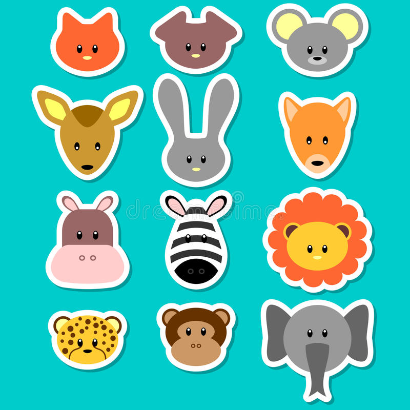 Download Cute animal faces stock vector. Illustration of face - 25422843