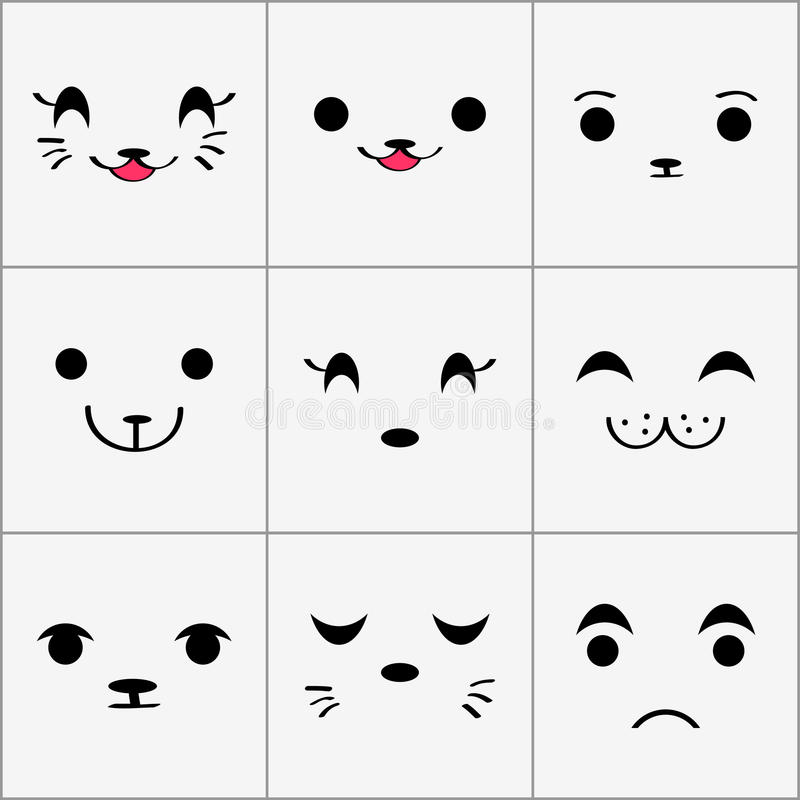 Download Cute animal faces set stock vector. Image of animal, babyish - 27665718