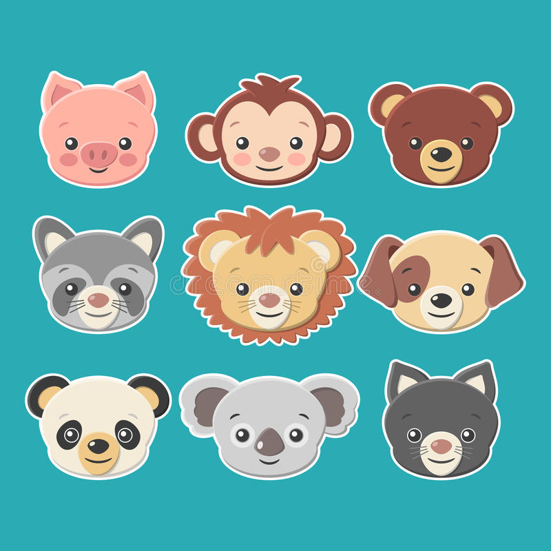 Cute animal faces stickers set -vector eps8. Set of cartoon animal faces stickers, suitable for web, print, wallpaper, gift wrapping, home decor, fashion vector illustration