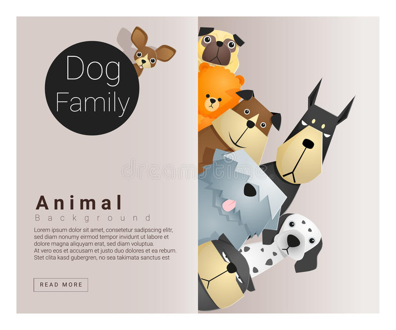 Cute animal family background with Dogs. Vector , illustration