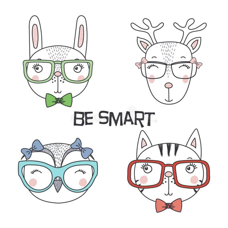 Cute animal in glasses vector illustration