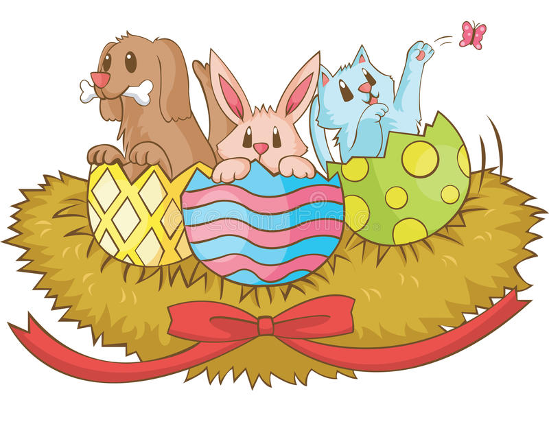 Easter Animal Cartoon, Cerate By Vector Royalty Free Stock Images