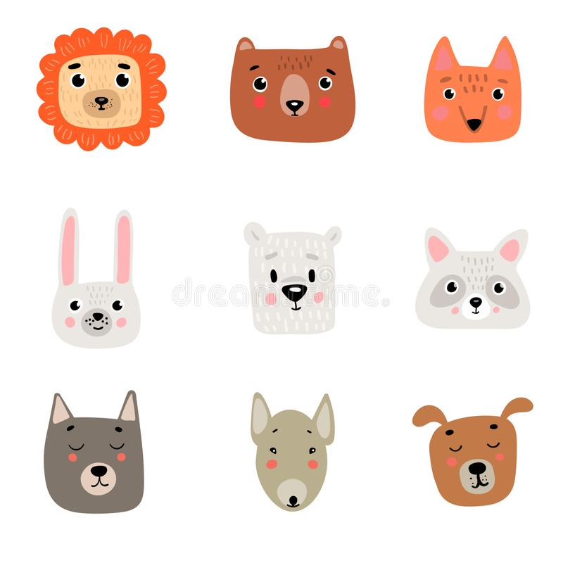 9 cute animal heads: lion, bear, Fox, hare, polar white bear, raccoon, wolf, pit bull, dog royalty free illustration