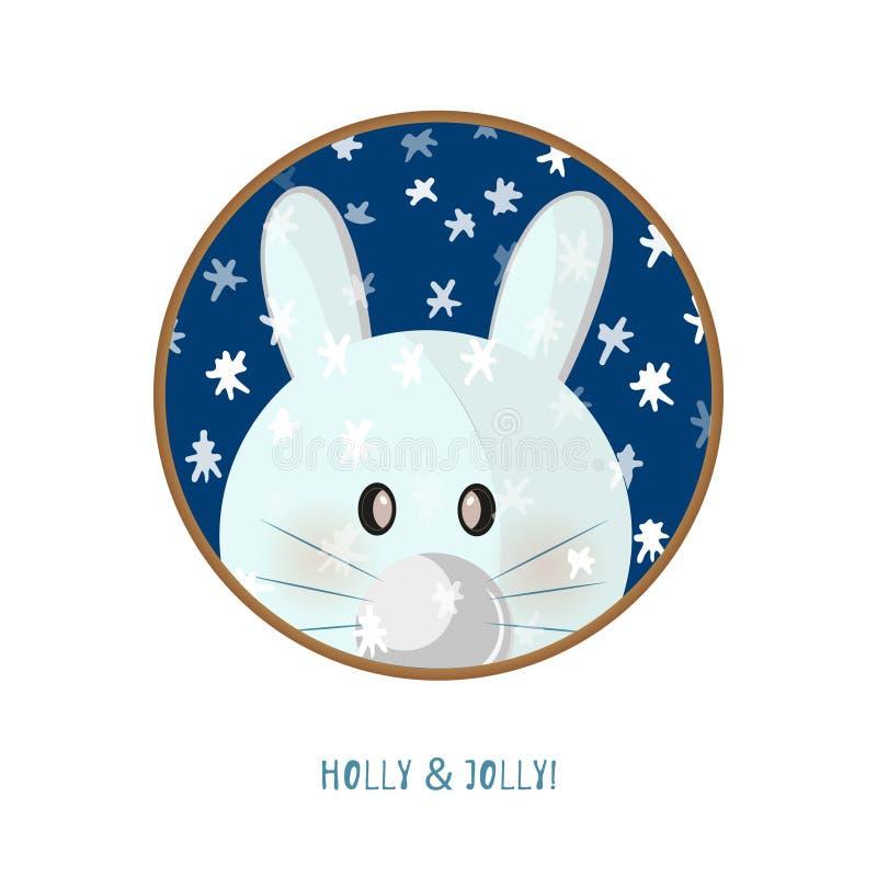 Cute animal icon on white background. Ring badge label rabbit. royalty free illustration