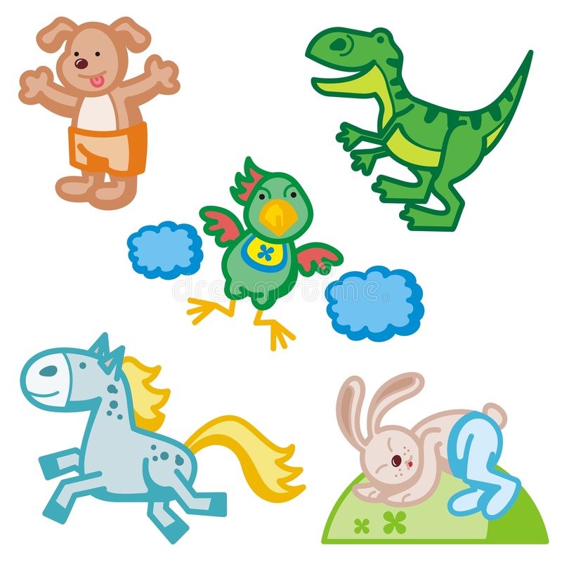 Cute Animal Icons. A set of five cute animal icons