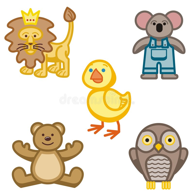 Cute Animal Icons. A set of five cute animal icons royalty free illustration