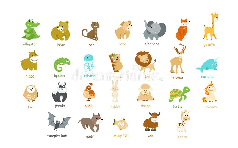Cute animal icons vector set royalty free illustration