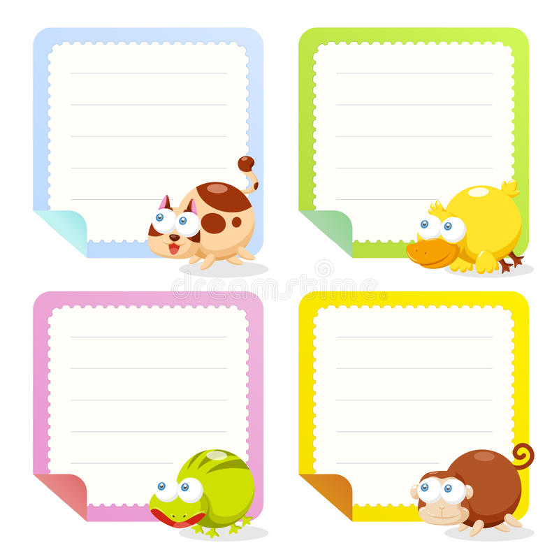 Cute Animal Note Papers Collection Stock Vector - Illustration of ...