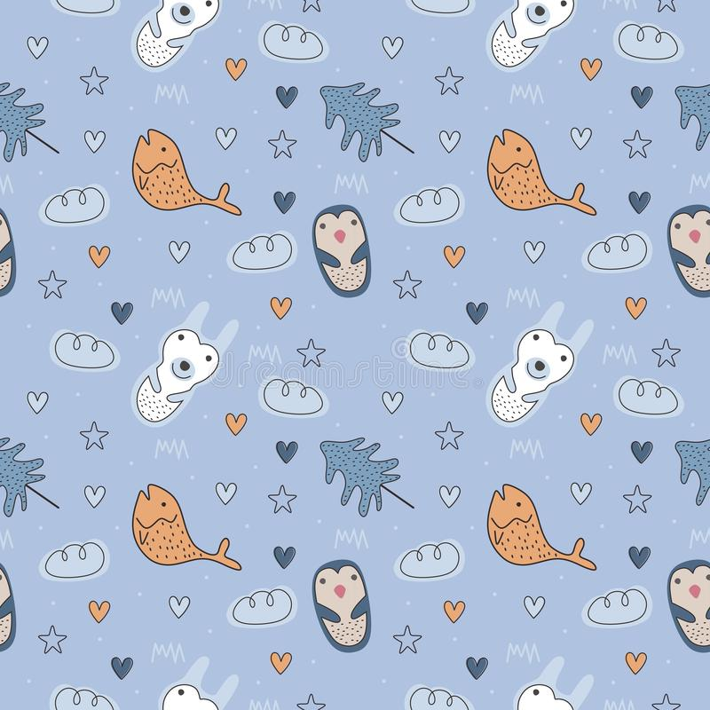 Cute animal seamless pattern with polar bear and penguin scandinavian nordic drawing vector illustration for fashion textile print vector illustration