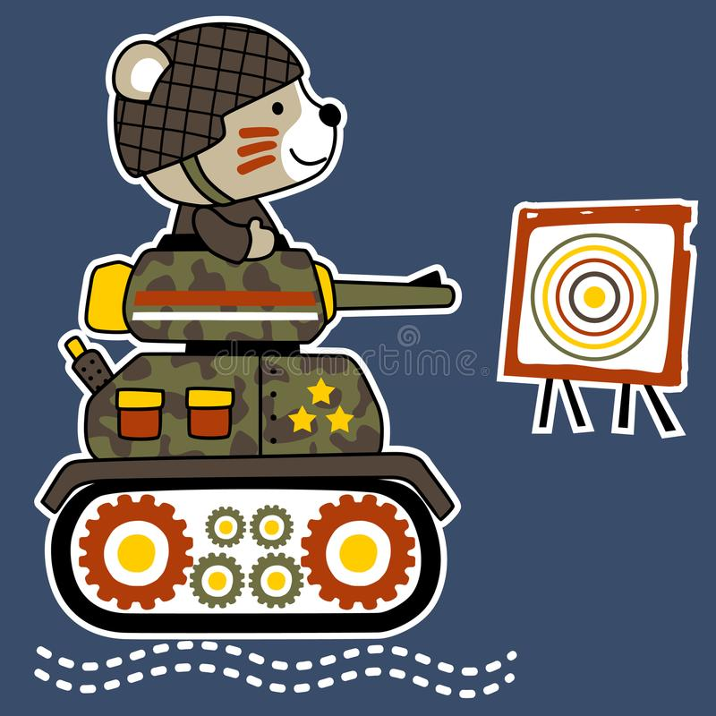 Cute animal soldier cartoon on armored vehicle vector illustration